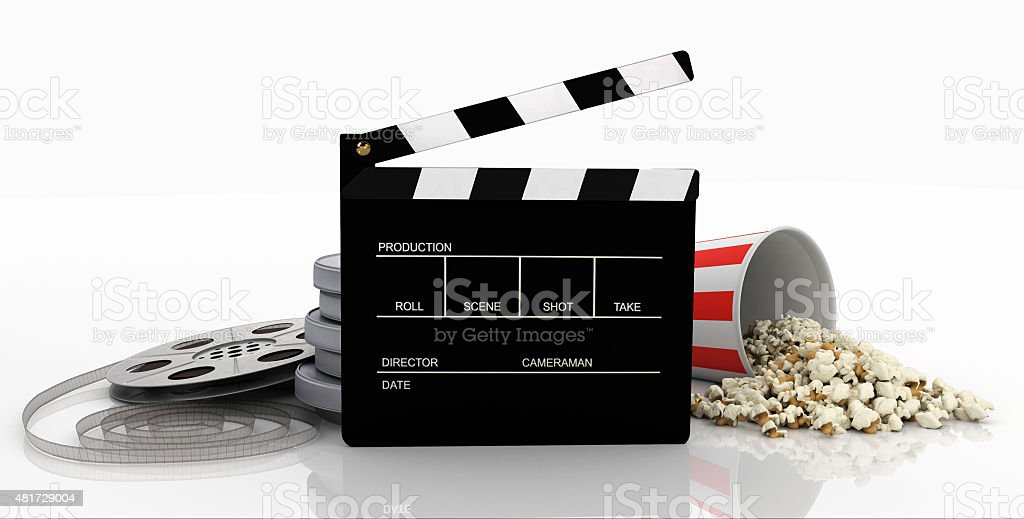 Clapper, film strip, popcorn stock photo