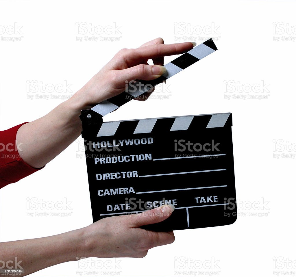 Clapper with hands royalty-free stock photo