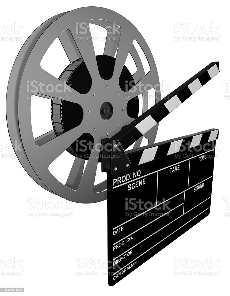 Clapperboard and film reel stock photo