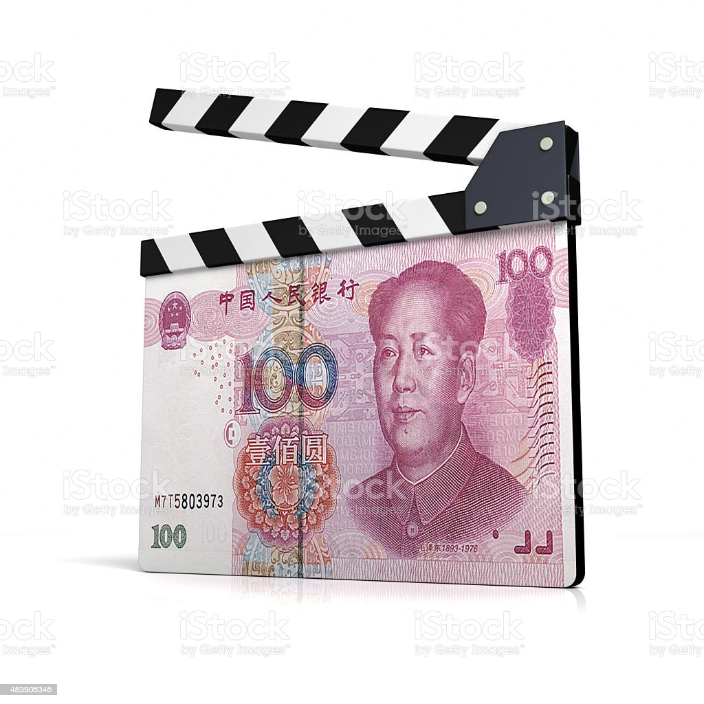 Clapperboard China bill has been printed stock photo