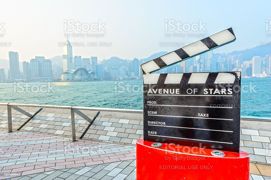 Clapperboard in Avenue of Stars stock photo