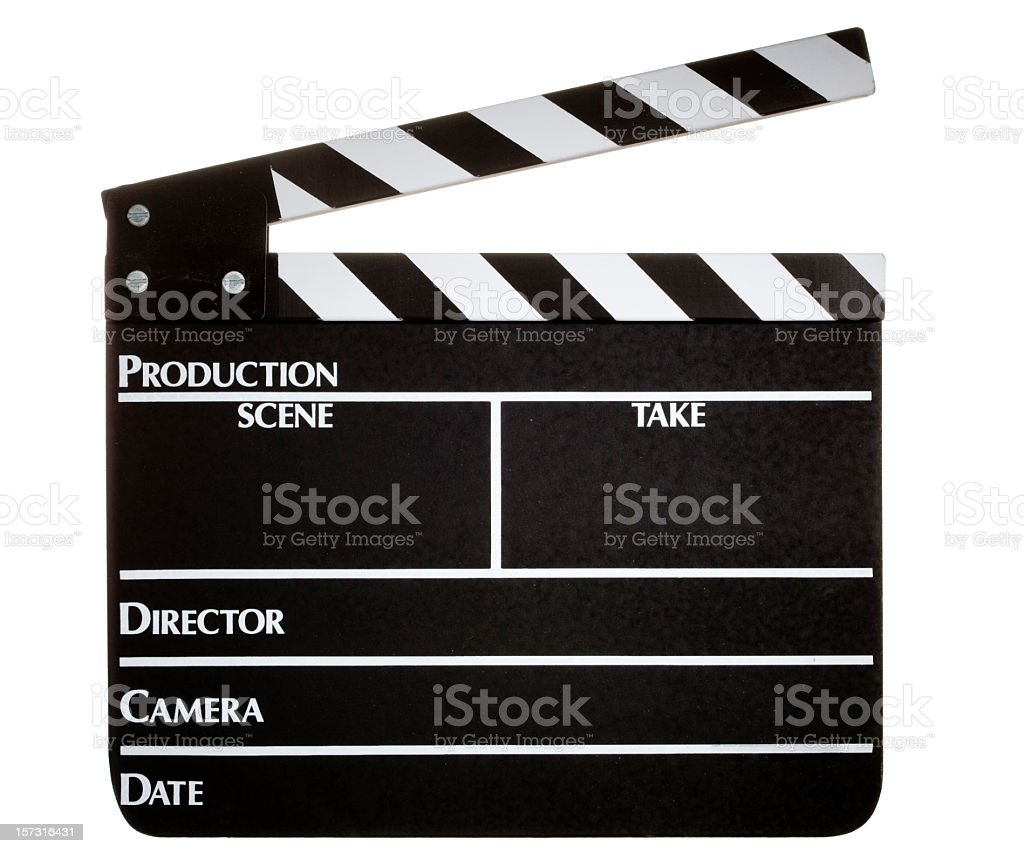 Clapperboard on white background stock photo