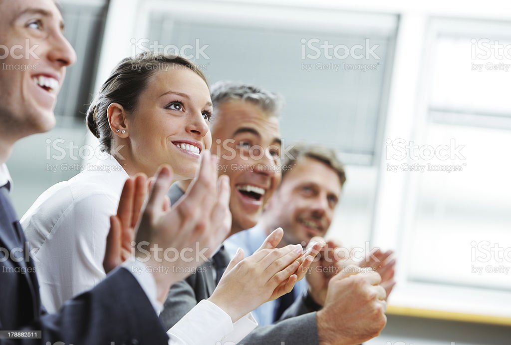 Clapping business people royalty-free stock photo