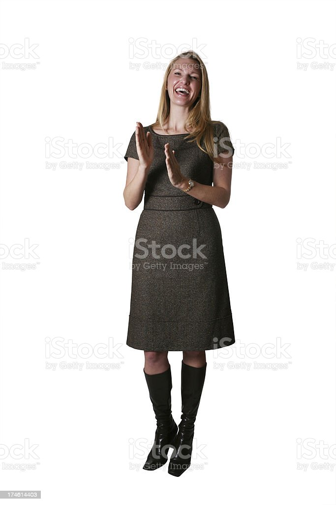 Clapping businesswoman royalty-free stock photo