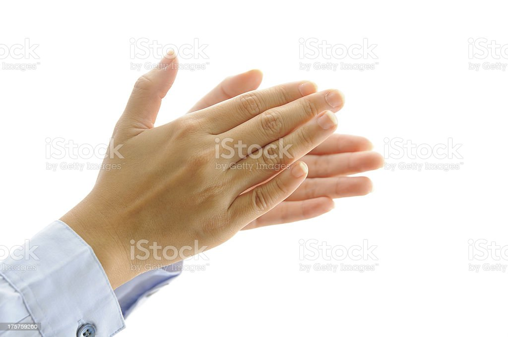 clapping hand isolate on white royalty-free stock photo
