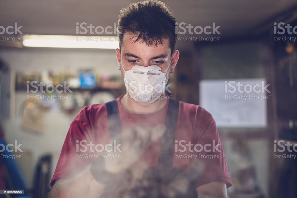Clapping hands riding dust stock photo