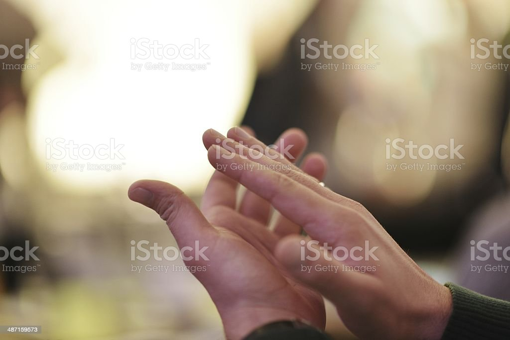 Clapping on conference meeting stock photo