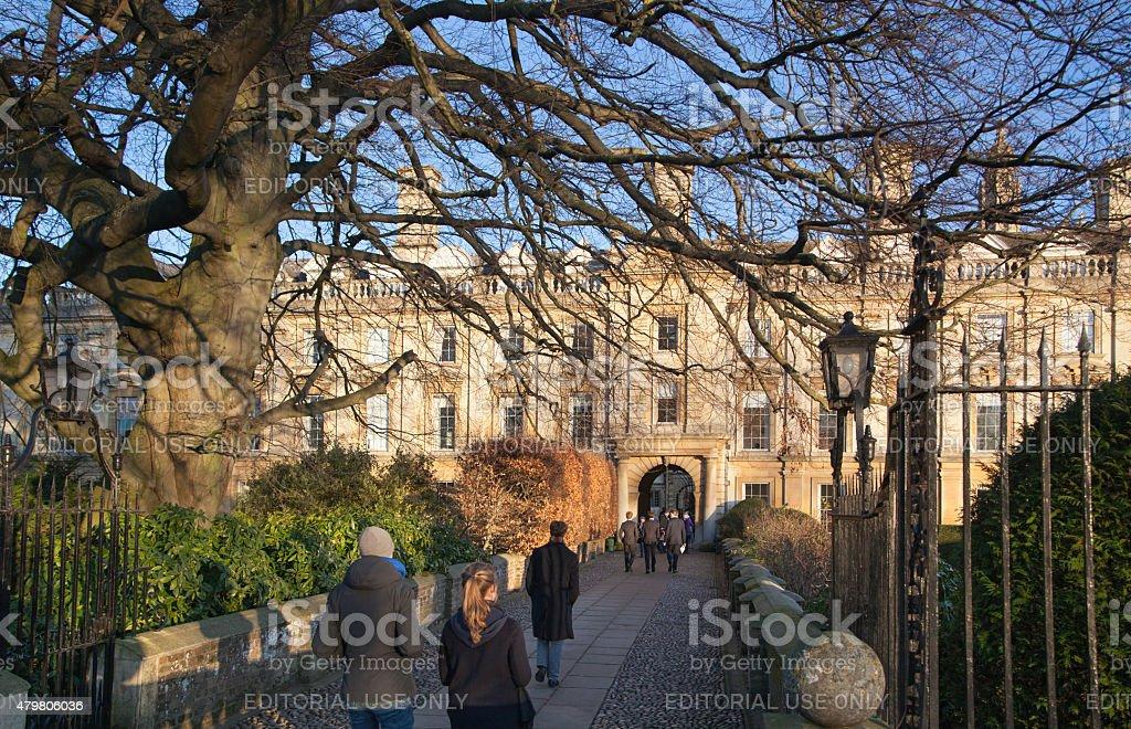 Clare college inner yard view, Cambridge stock photo
