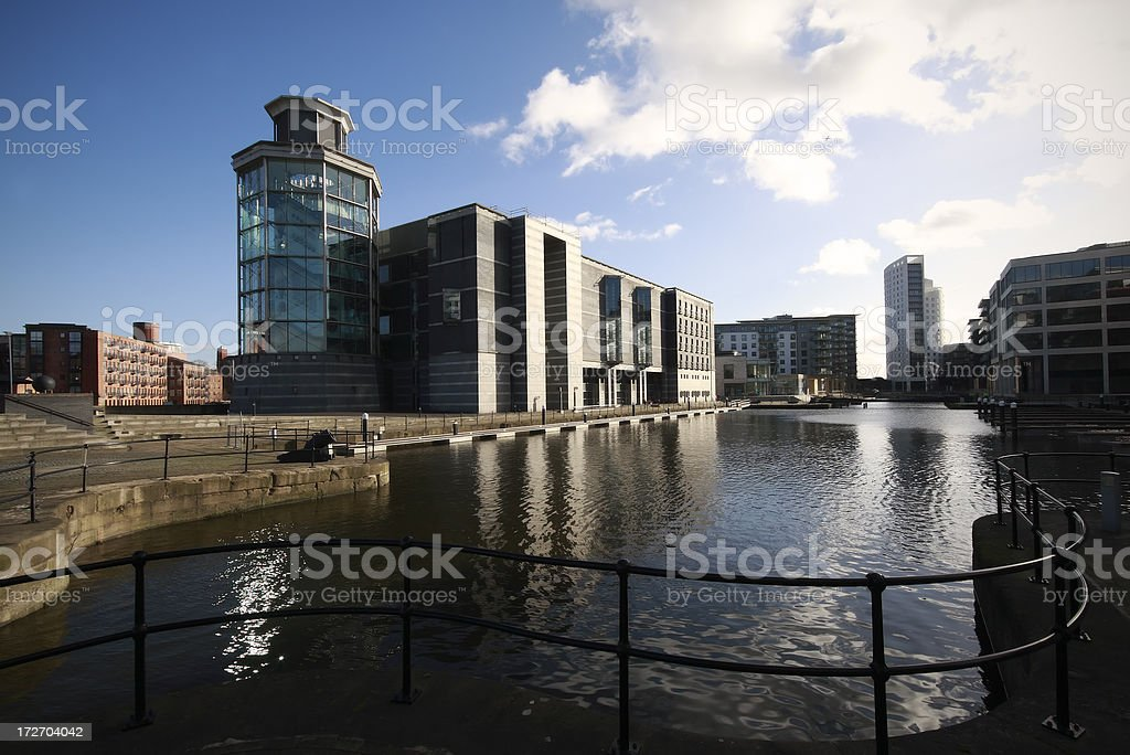 Clarence Dock and Royal Armouries stock photo