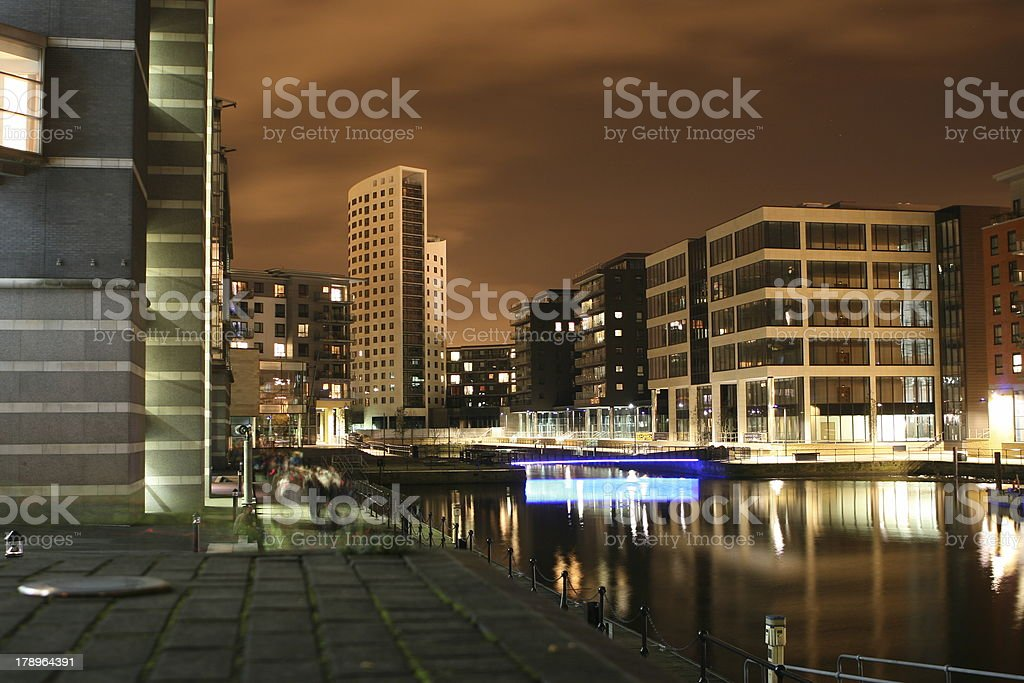 Clarence Dock at Night royalty-free stock photo