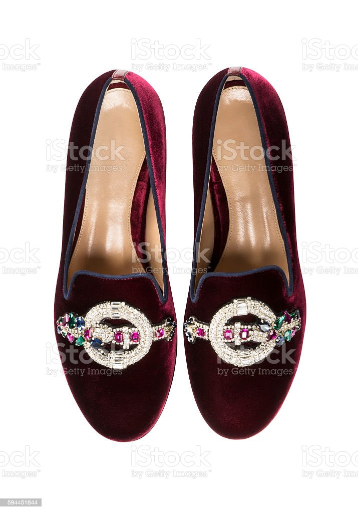 claret red shoes stock photo