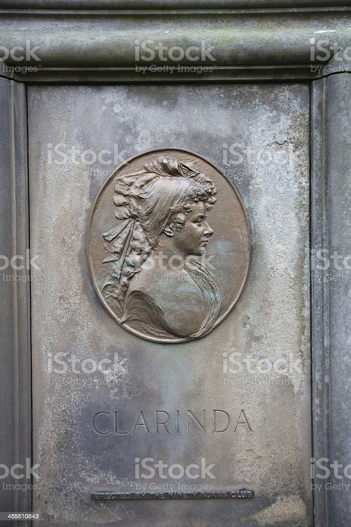 Clarinda plaque in Canongate Kirkyard, Edinburgh. stock photo