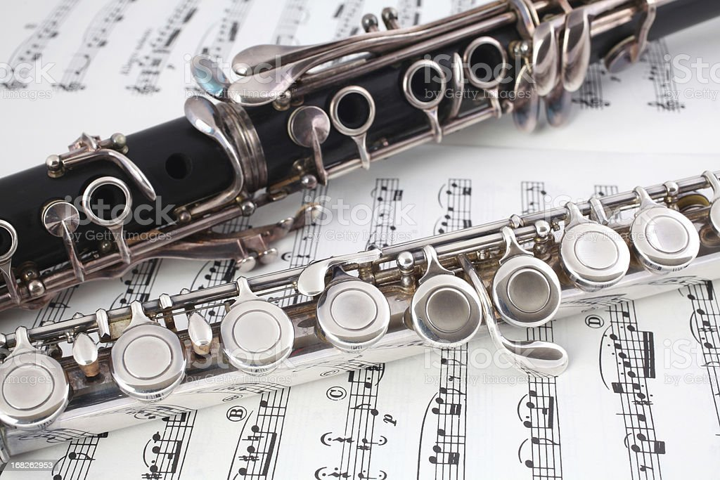 Clarinet and Flute on Music stock photo