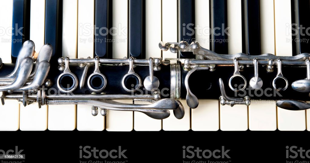 Clarinet and Keyboard. stock photo
