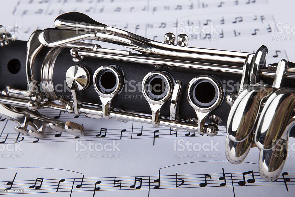 Clarinet And Musical Note stock photo