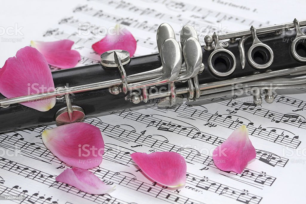 Clarinet and Rose Petals royalty-free stock photo