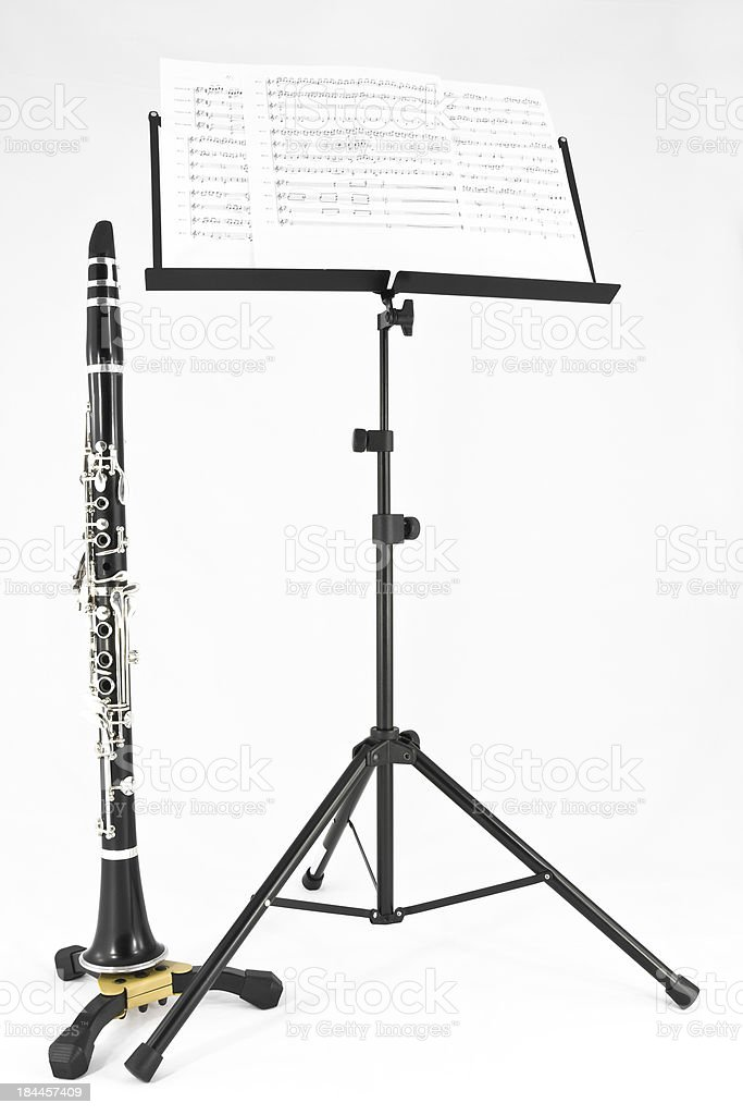Clarinet and sheet music on stand royalty-free stock photo