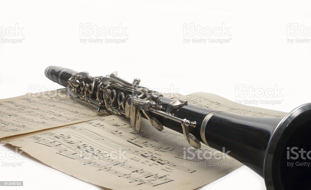 clarinet and sheet music royalty-free stock photo