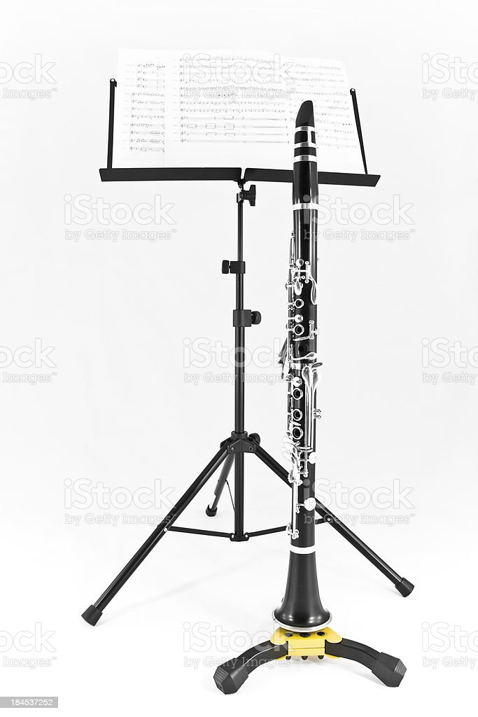 Clarinet and sheet music ready to play royalty-free stock photo