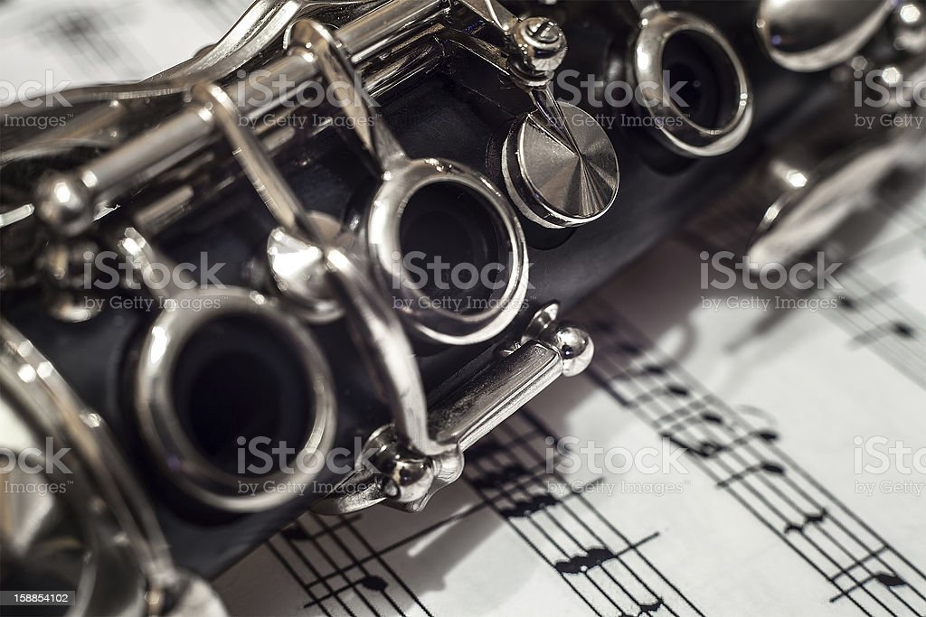 Clarinet close up stock photo