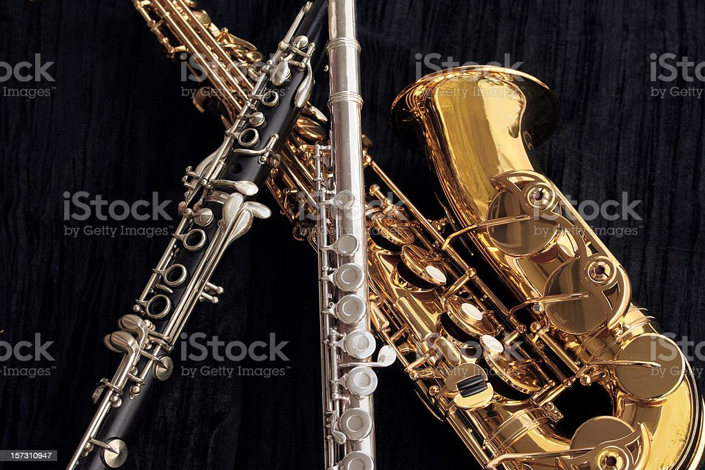 Clarinet, Flute and Alto Sax Collage stock photo