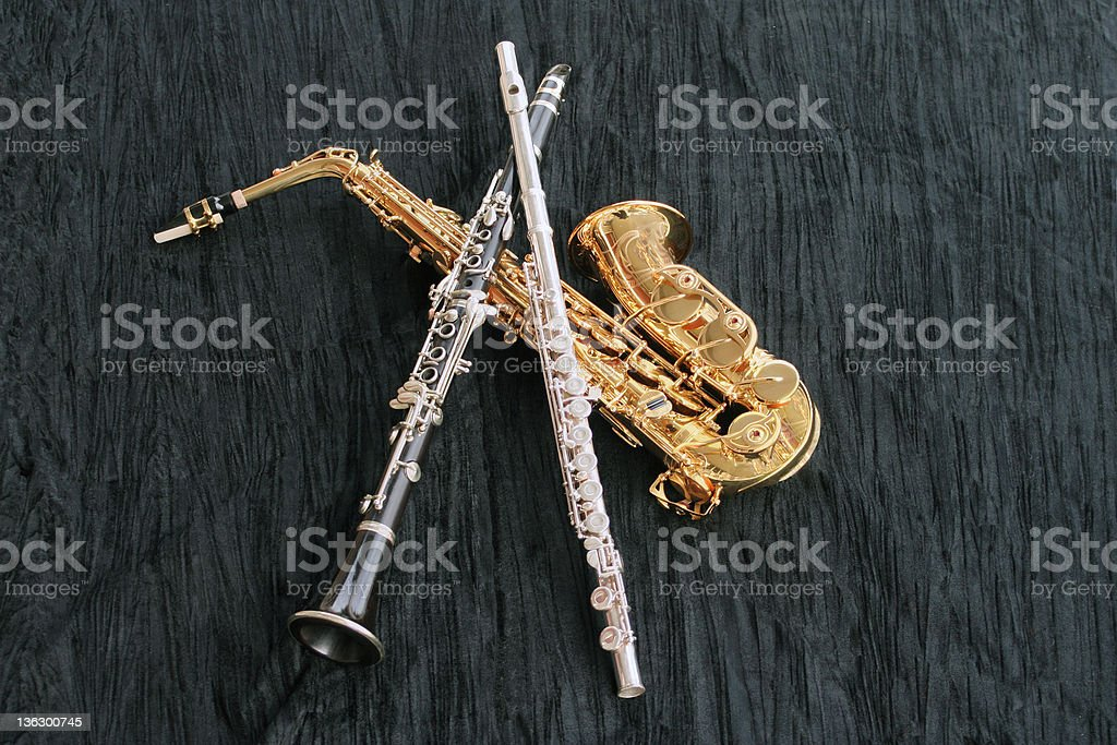 Clarinet, Flute and Sax stock photo
