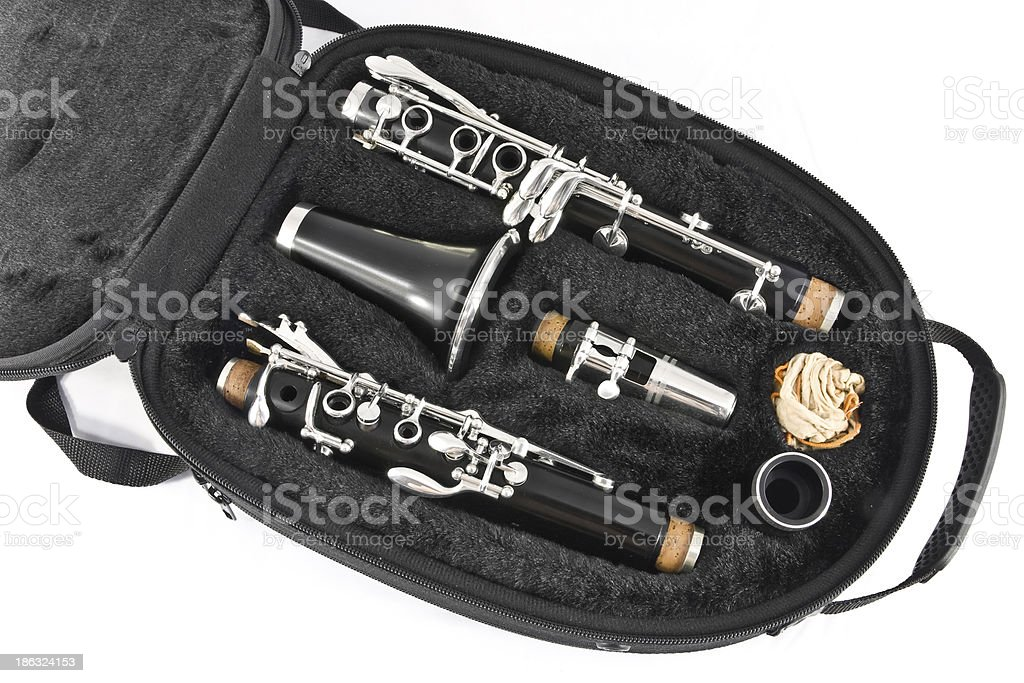 Clarinet in its case close-up royalty-free stock photo