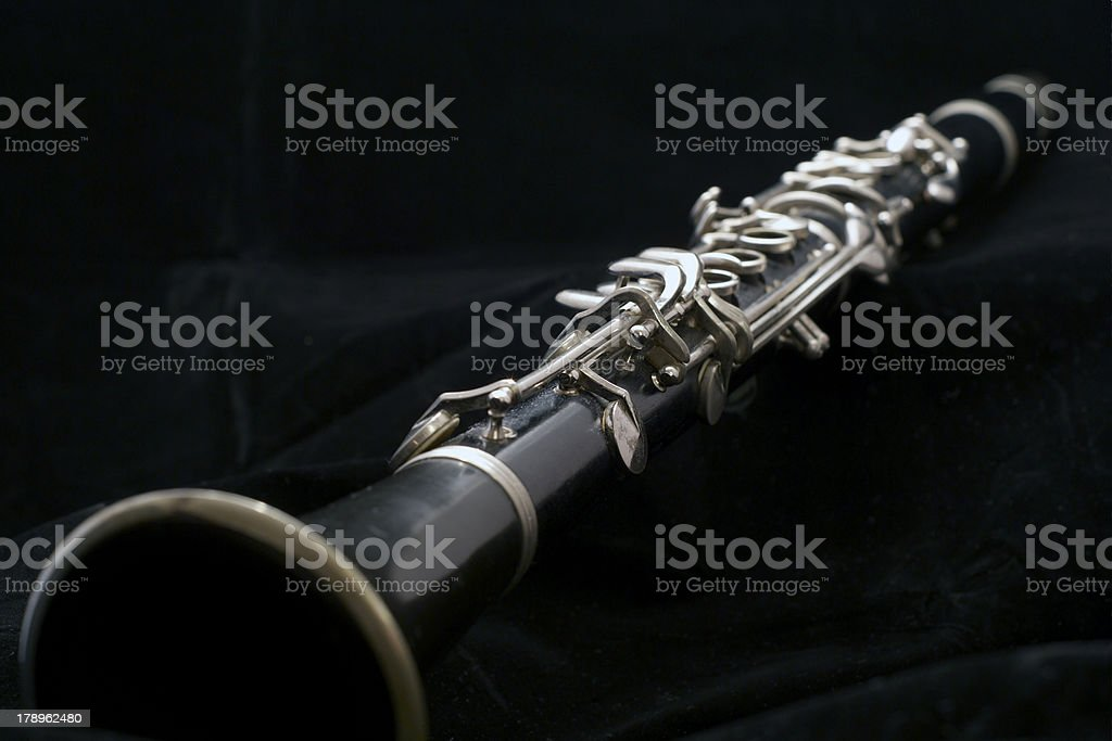 Clarinet isolated on black royalty-free stock photo