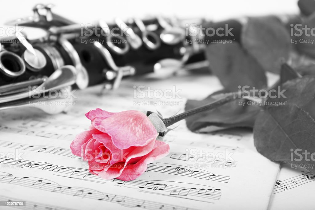 Clarinet on sheet music royalty-free stock photo