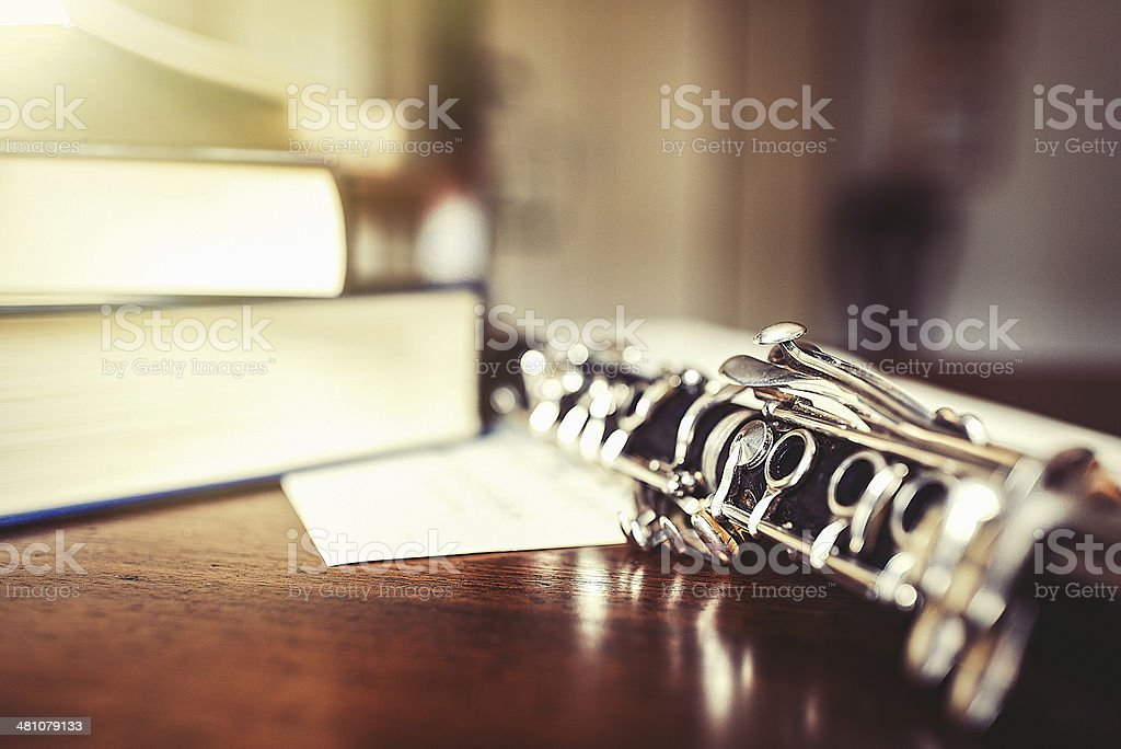 Clarinet on the table royalty-free stock photo