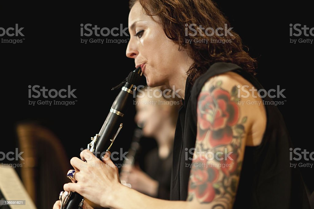 Clarinet player in orchestra stock photo