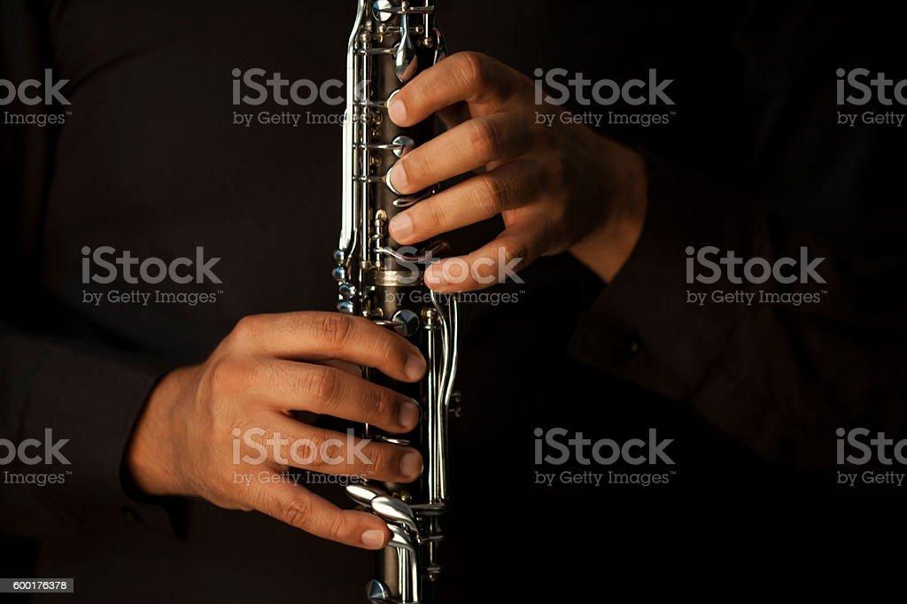 clarinet player stock photo
