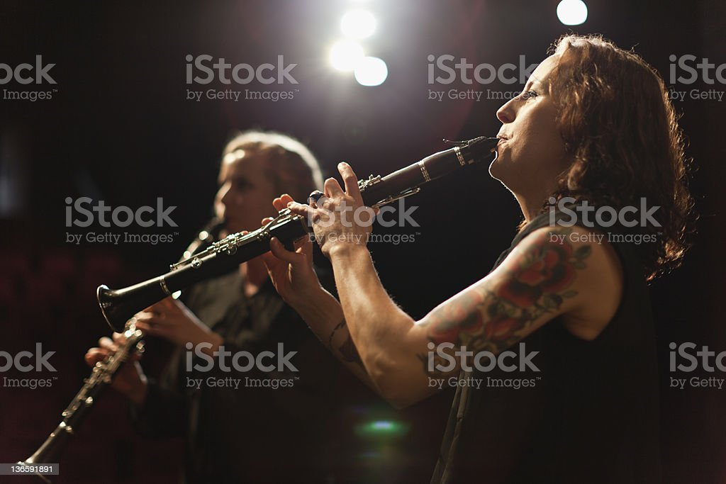 Clarinet players in orchestra stock photo