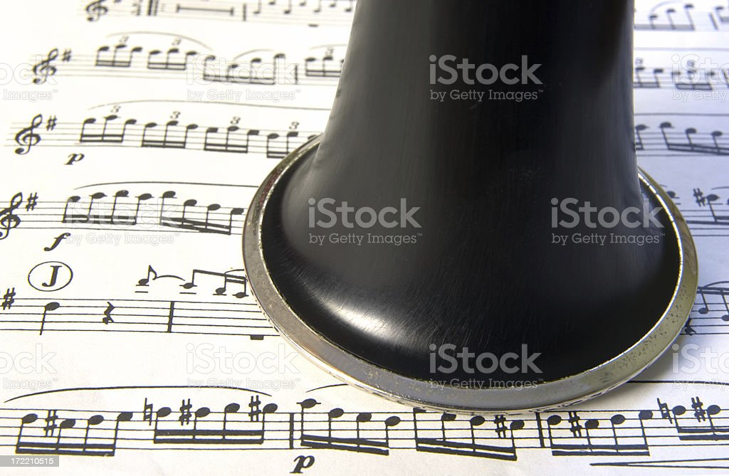 Clarinet resting on music royalty-free stock photo