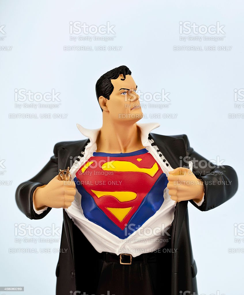 Clark Kent becomes Superman stock photo