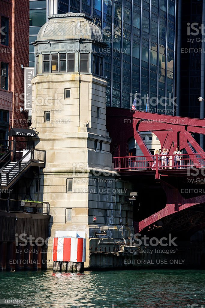 Clark Street Bridgehouse on The Chicago River stock photo
