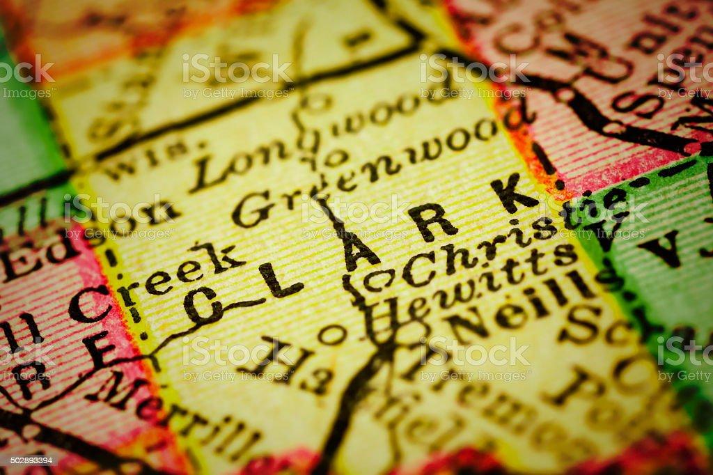 Clark | Wisconsin County maps stock photo
