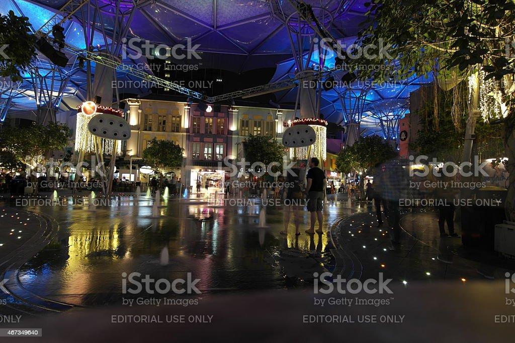 Clarke Quay in Singapore at night stock photo