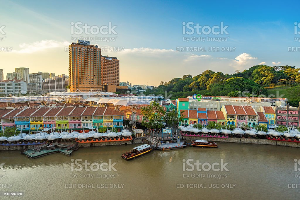 Clarke Quay old port in Singapore stock photo