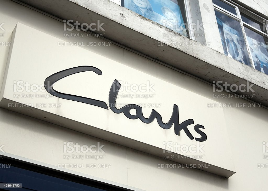 Clarks shoe shop sign royalty-free stock photo