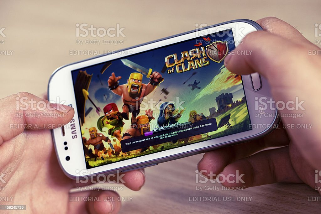 Clash of Clans on Samsung Galaxy stock photo
