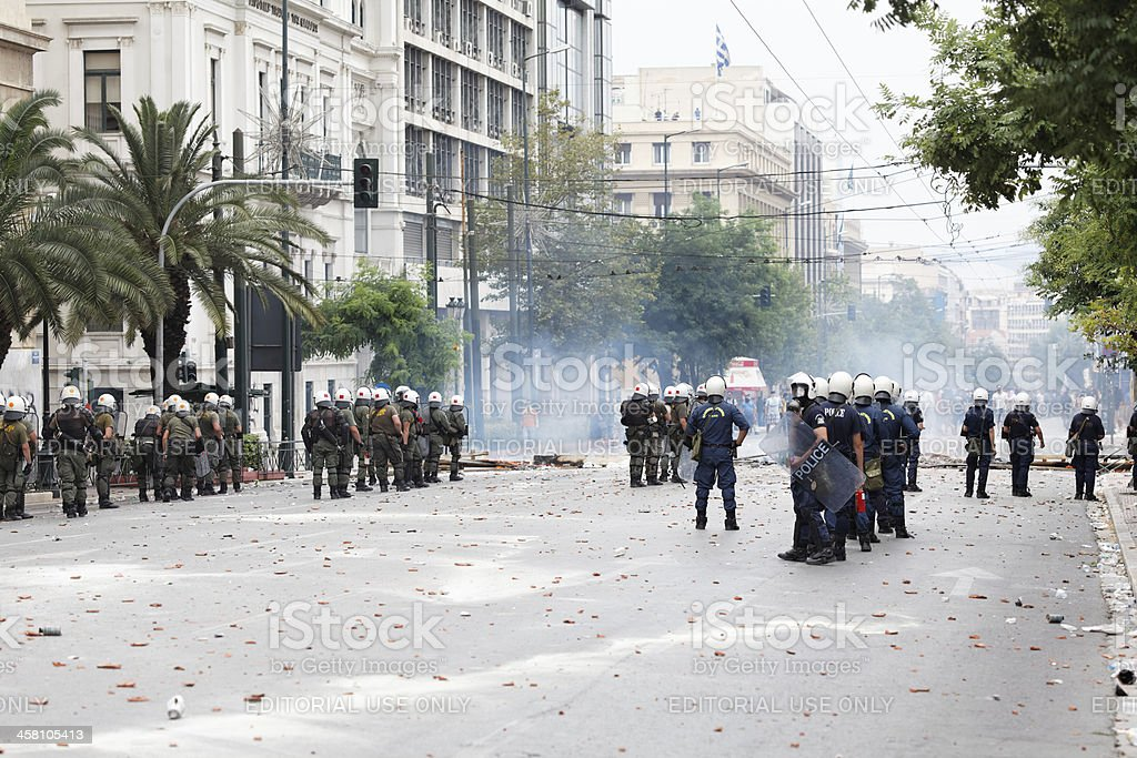 Clashes at Athens protest against austerity measures stock photo