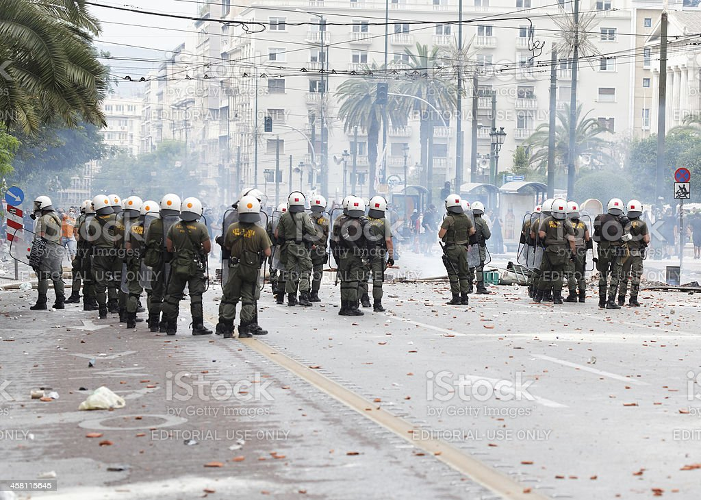 Clashes at central Athens stock photo