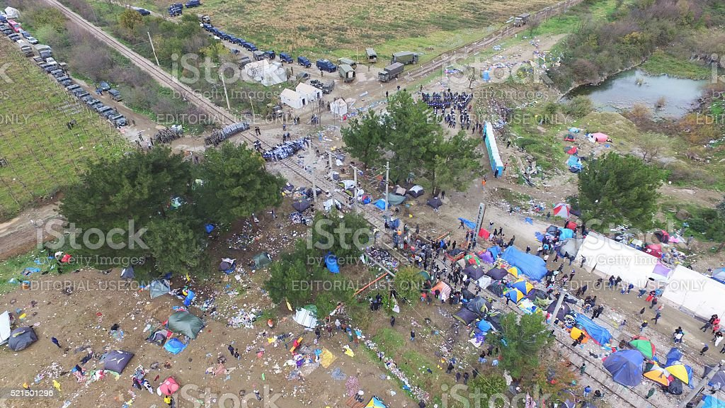 Clashes at the Greek-Macedonian border stock photo