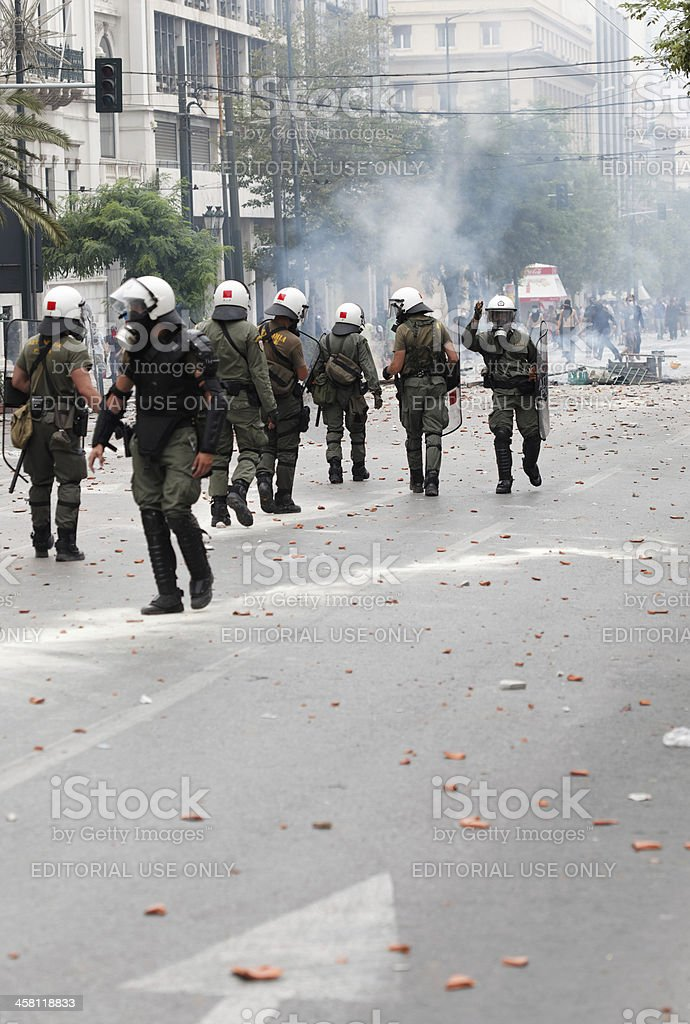 Clashes in Athens, Greece stock photo