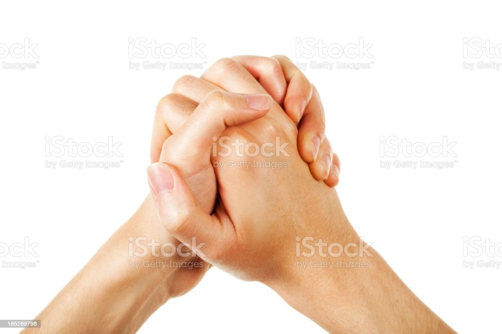 Clasped hands stock photo