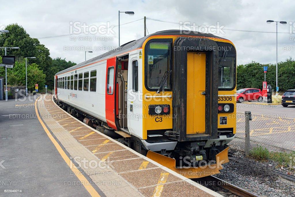 Class 153 single DMU train at Marks Tey station stock photo