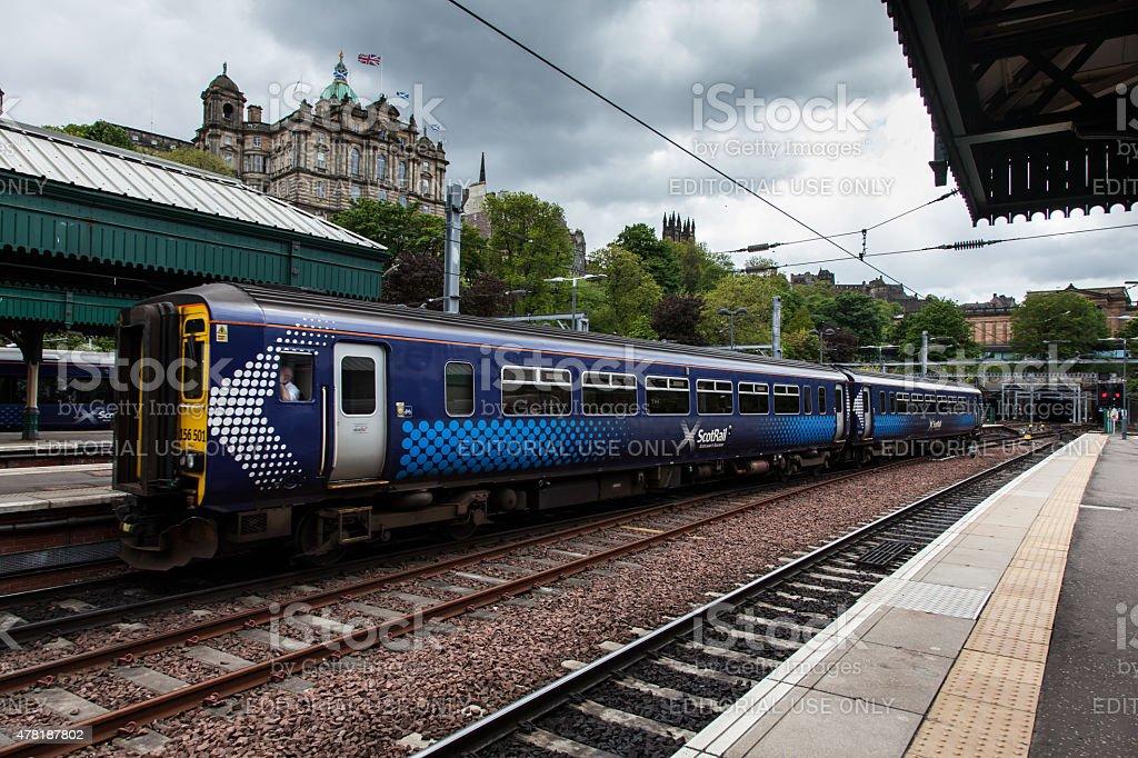 Class 170 ScotRail Passenger Train arrives at Edinburgh stock photo