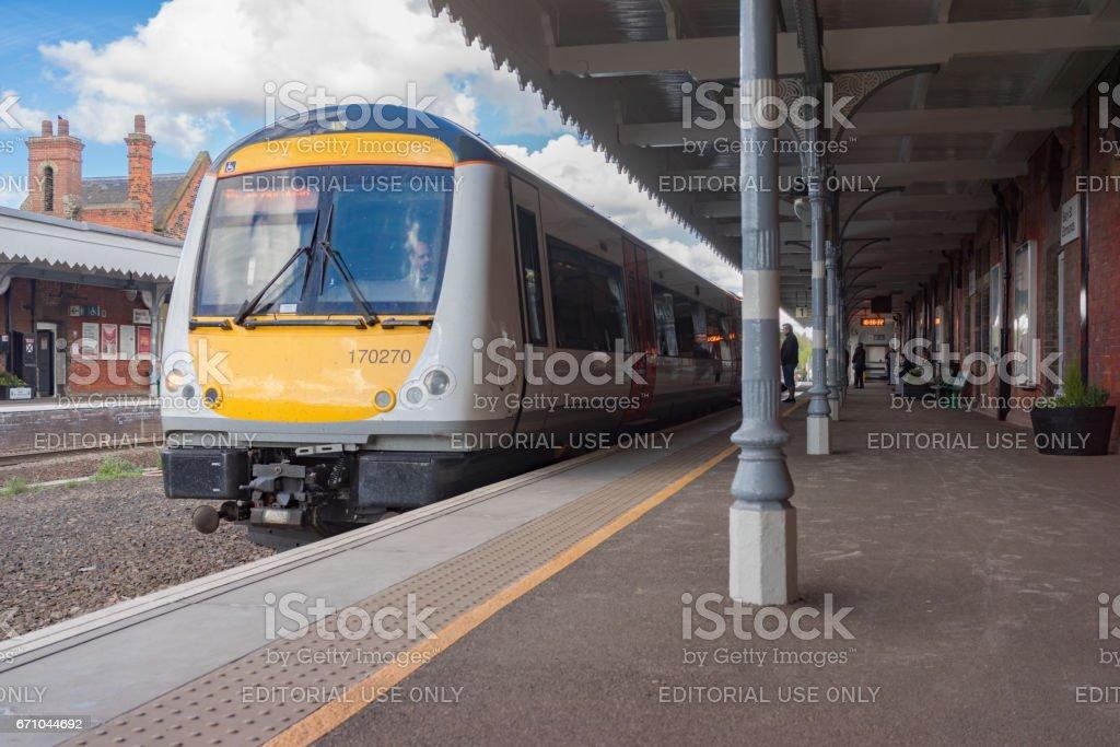 Class 170 Turbostar DMU train at Bury St Edmunds station stock photo