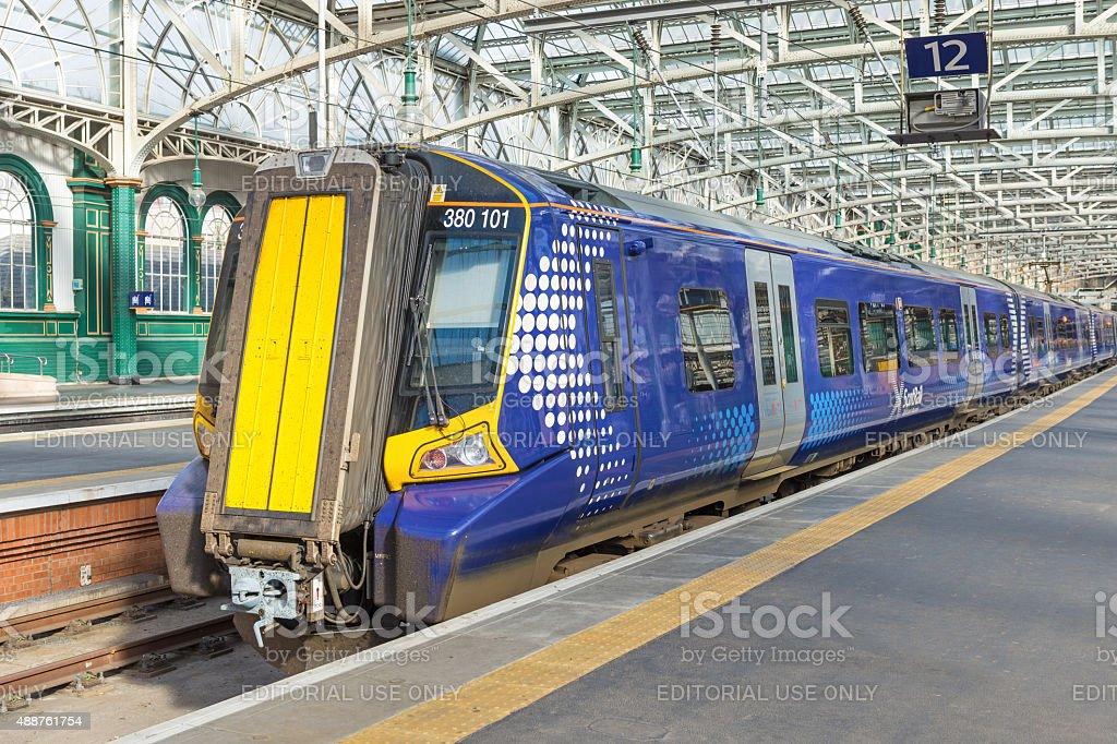 Class 380 ScotRail train, Glasgow Central, Scotland stock photo
